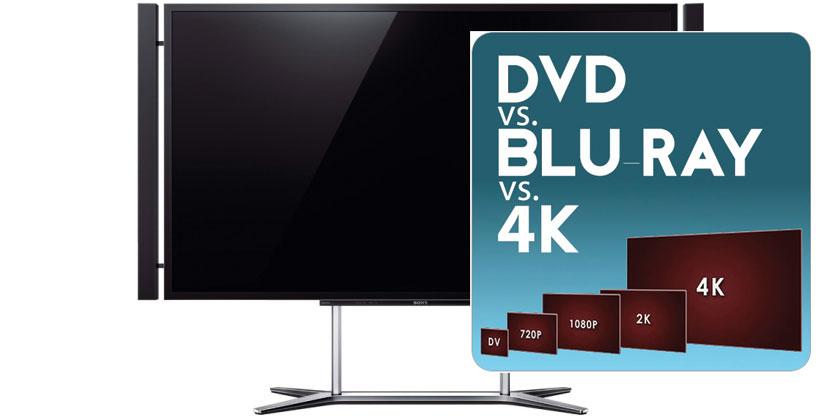 En sammenligning av DVD, Blu-ray og 4K/UHD. Foto: Sony