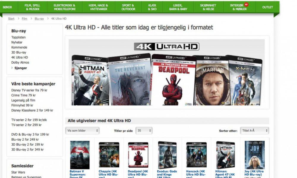 RYDDIG: CDON.com har en flott oversikt over hva de har til salgs av de nye 4K Ultra HD-filmene