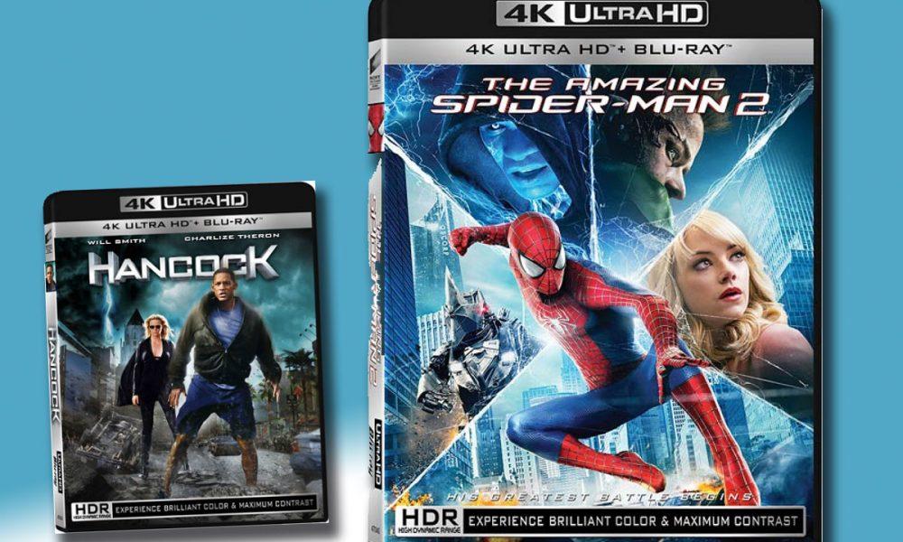 NYTT VIDEOFORMAT: Hancock og The Amazing Spider-Man 2 blir blant de seks første 4K Ultra HD-utgivelsene fra Sony Pictures Home Entertainment (SPHE). Merk den nye offisielle emballasjen. Sony Pictures Home Entertainment (SPHE) lanserer sine første UHD-titler i Norden og Europa 2. mai 2016.