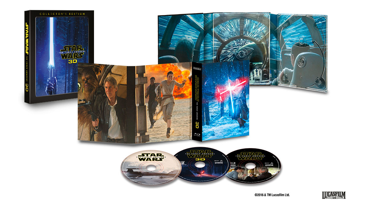 3-disc Blu-ray 3D-utgaven av Star Wars: The Force Awakens – «in all it's glory». Foto: Lucasfilm / Disney