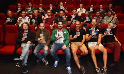 HELE GJENGEN samlet i sal Lillebil i Filmens hus i Oslo. Hvor er damene?Første rad foran fra venstre: (arrangementskomiteen): Eivind Fjeld Schjerven