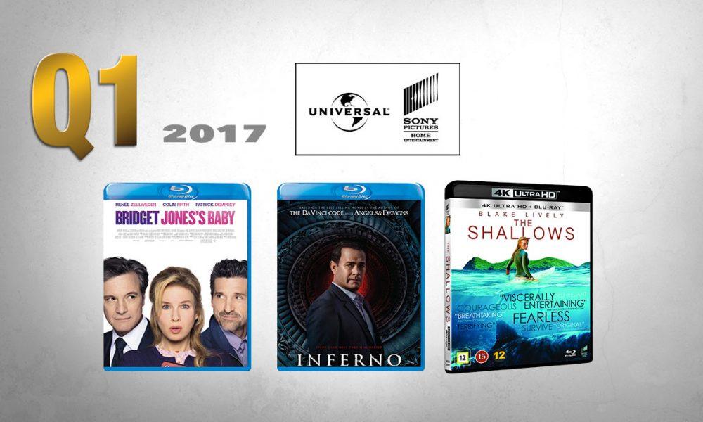 TRE HØYDEPUNKT fra Universal Sony i første kvartal 2017: Bridget Jones' Baby: Alle gode ting er tre, Inferno og The Shallows.