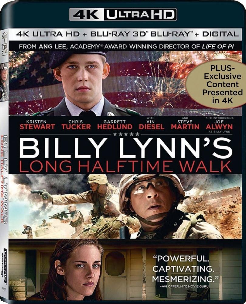 4K-UTGIVELSE: Ang Lees banebrytende nye film – Billy Lynn's Long Halftime Walk – er filmet med 120 bilder i sekundet og med 4K 3D. Men på fysisk video forblir UHD den best tenkelige presentasjonen. Verken kinoer eller forbrukerutstyr kan vise filmen slik den er laget, ennå! Men det kommer nok.