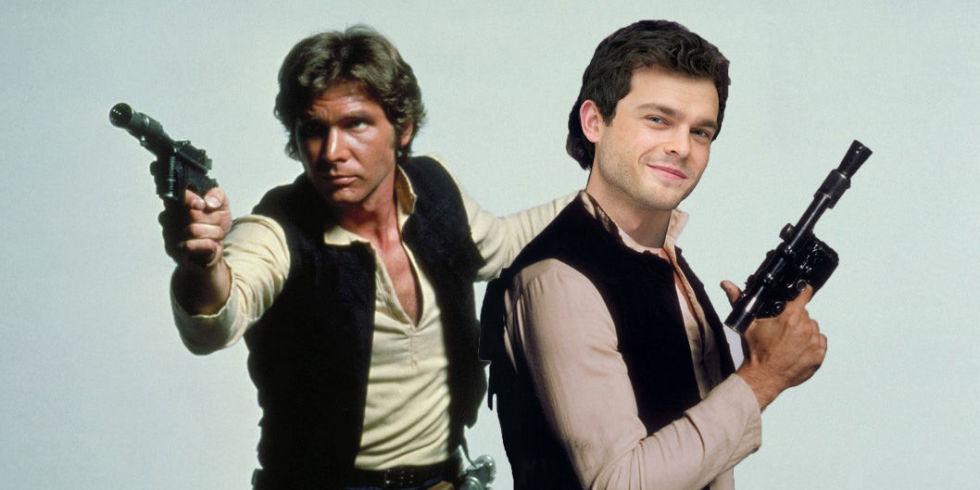 Han Solo, slik vi husker ham (t.v.) – spilt av Harrison Ford. Til høyre en montasje med Alden Ehrenreich, som har rollen i den nye filmen.