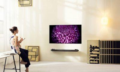 """Bare litt over 2,5 centimeter tynn! Det er LGs nye toppmodell av TV-er: LG OLED G7. 65"""" vil koste rundt 60.000 kroner."""